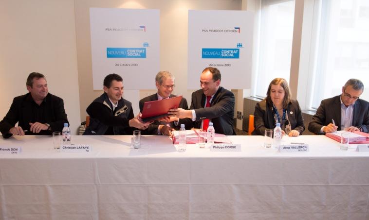 Signature Nouveau Contrat Social PSA