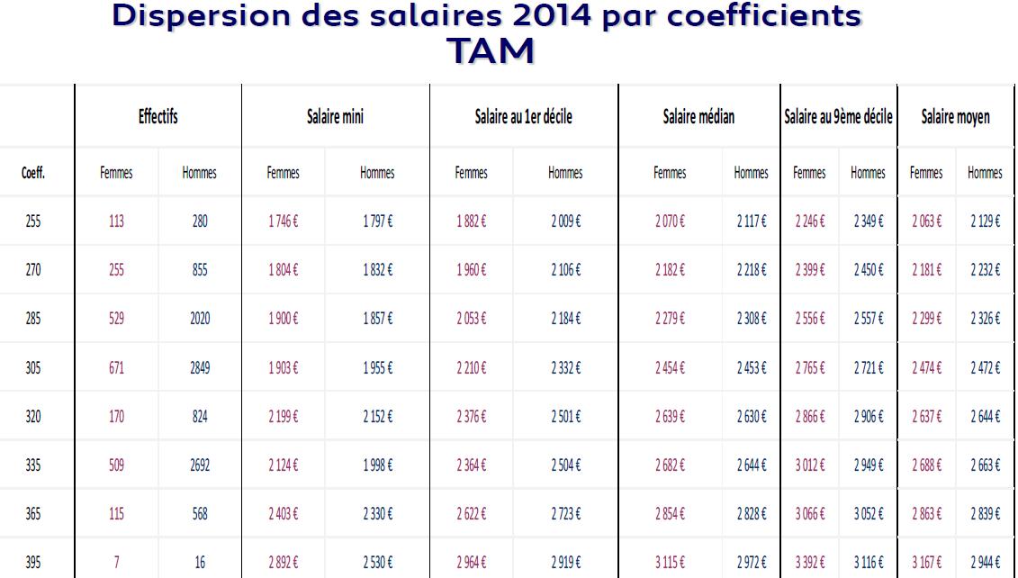 Salaires TAM 2014